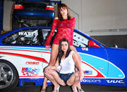 sexy models tara and amanda with the chevrolet corvette and bmw race car-474703